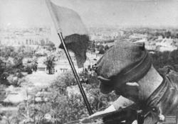 ausschreitungen:  Polish victory flag over Berlin.