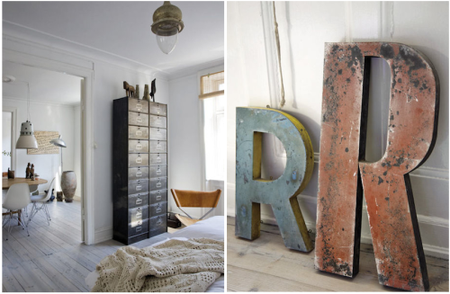 myidealhome:  industrial drawers and letters (via Graphic-ExchanGE)  !