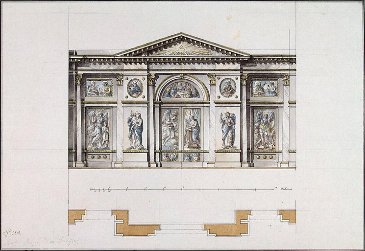 Plan for iconostasis at Smolny Convent, St. Petersburg  Giacomo Quarenghi, 1780s