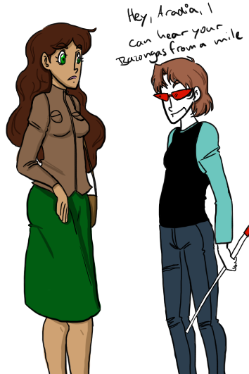 So, Aradia and Terezi. Terezi is still being blind, but she's trolling everyone with it. And she likes it. Also, Aradia is curvateous. How do I english? My name are potato.