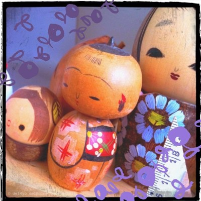 Little people on my desk #cute #こけし #かわいい  #kokeshi (Taken with instagram)