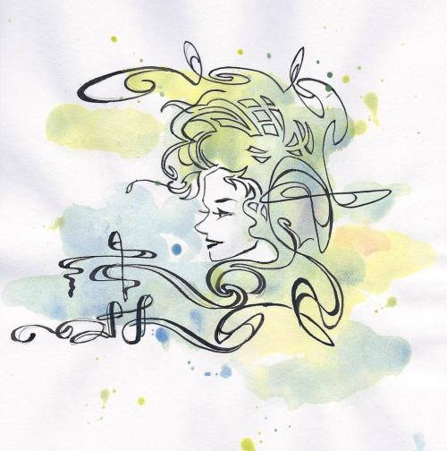 "NOUVEAU PROFILE pen & ink with watercolor, 6""x6"" This is a piece that I doodled a long time ago while sitting in a literature class in college.  I recently revisited it after finding it in an old sketchbook and ended up adding a watercolor element to liven it up.  It's definitely influenced by the Art Nouveau movement in the late 19th/early 20th century.  Comments welcome!"