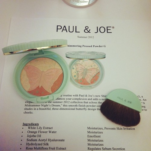Super luxe @paul_and_joe shimmering pressed powder launching in May 12 #bbdesktweets  (Taken with instagram)