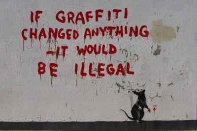 Classic Banksy piece. (Source: http://innewyorkparistomorrow.blogspot.com/)