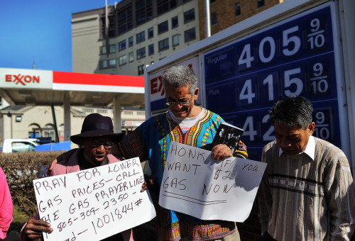 Praying for lower gas prices: Demonstrators take part in a prayer vigil for lower gasoline prices in front of a service station in Washington, DC, on February 23, 2012. US President Barack Obama will try to head off Republican criticism over rising gasoline prices Thursday, setting out how the United States should address its voracious appetite for energy. Visiting the hard-hit election battleground of Florida, Obama will address concerns about rising gasoline prices, which have jumped 16 percent in a year in the Sunshine State, providing campaign fodder for his Republican foes. (Jewel Samad/AFP/Getty Images)