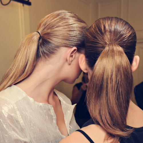 We love slicked back ponytails! Check out the tips from The Zoe Report on how to get this elegantly polished ponytail look seen on the runways of Balmain!