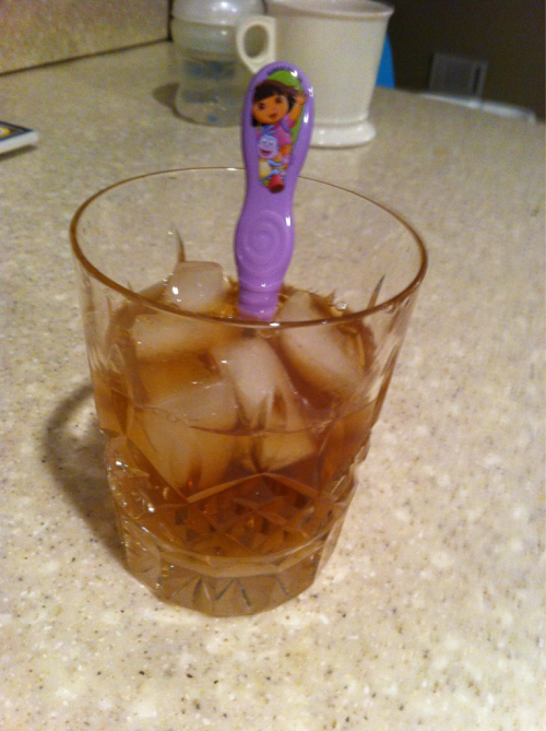 fishingboatproceeds:  Mixing an Old Fashioned with a Dora the Explorer fork.  this will be me,minus the Dora the explorer anything,ick hate that repetitive b