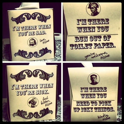"Coolest Box of tissues EVER !!! ""Tissue ——> The Real #BFF !!! (Taken with Instagram at The Meadows Apartments)"
