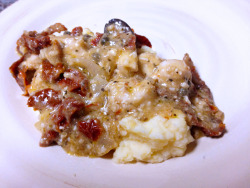 Chicken in Creamy Sun-Dried Tomato Sauce 1 cup Chablis or other dry white wine * 1/4 cup coarsely chopped pitted kalamata or oil-cured olives 2 tablespoons drained capers 2 cloves garlic, minced 1 (14 ounce) can artichoke hearts, drained and chopped 1 cup drained and coarsely chopped sun-dried tomatoes 8 (4 ounce) skinless, boneless chicken breast halves 1/2 cup chopped fresh basil leaves (optional) Hot cooked rice, egg noodles or mashed potatoes  Directions Stir the soup, wine, olives, capers, garlic, artichokes and tomatoes in a 31/2-quart slow cooker. Add the chicken and turn to coat. Cover and cook on LOWfor 7 to 8 hours** or until the chicken is cooked through. Sprinkle with thebasil, if desired. Serve with the rice.  (full recipe)