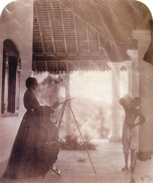 Marianne North painting in Ceylon, 1877, Julia Margaret Cameron