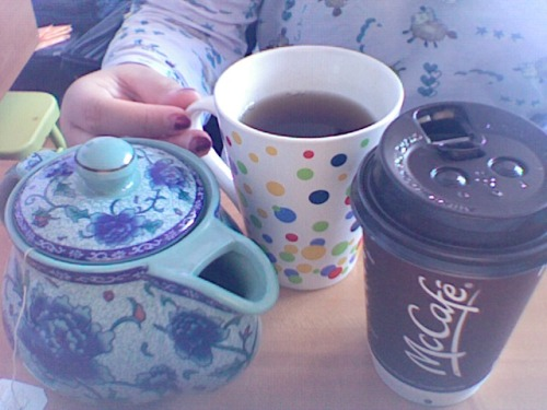 Because I am sick, I need infinite amounts of tea and coffee.   P.S. you can see my pajamas :D