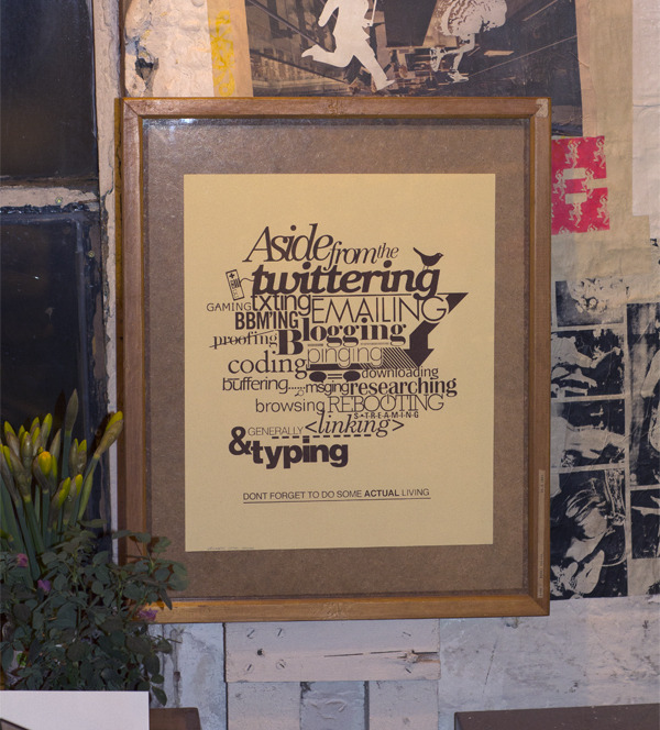 Framed 'Virtual Overload' 1 colour screen print I'm giving away, like my fb page for forthcoming details