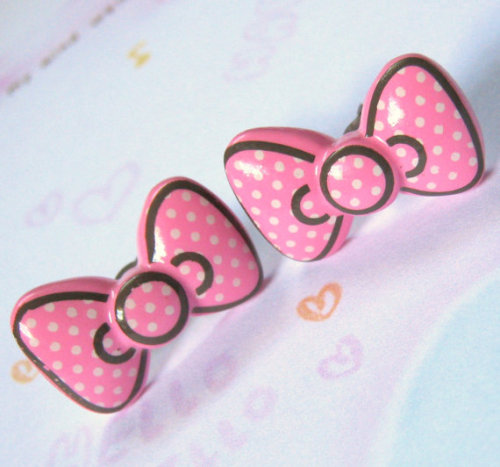 Pink Polka Dot Bow Stud Earrings, $3 at Etsy :) Check out her shop, she has tons of super cute things and they're super cheap!