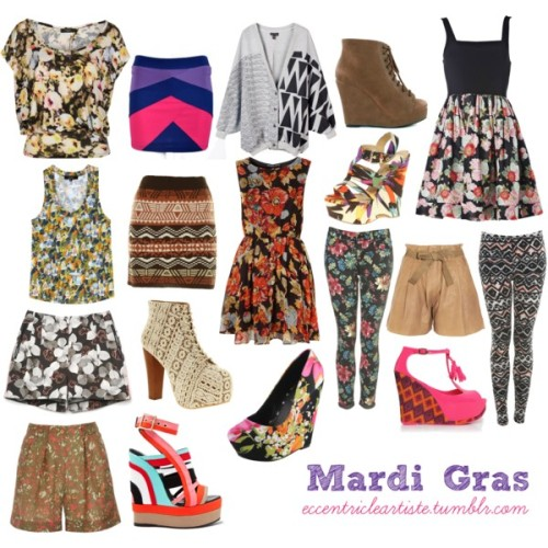 Look at me, look at me! Mardi Gras by eccentricleartiste featuring floral shorts I was talking to a friend and she mentioned how she's missing Mardi Gras for the second time for two consecutive years, and how she makes up for it by going to Sinulog this year (which btw, she missed last year for the first time). I'm not familiar with Mardi Gras, but I know what it stands for. I asked more about it and all I know is that it's colorful. Violets, greens, yellows. Prints. This set is inspired by the Mardi Gras version in my head. Is it….wrong? Tell me. I built it up this way. *laughs*  (c) Fashion Firewoman