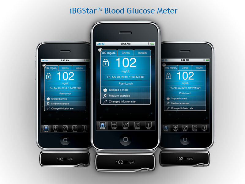 Mobile Health: AgaMatrix iPhone glucose monitor | MedTech This is an awesome device that turns the iPhone into your own personal  blood glucose meter. Well…that's boring right? My glucose meter does  that right now. Not quite. With iPhone being directly linked to current  wireless technology the app for iBGStar automatically logs data and  sends it to the office of your health care professional so that data is  available for review is a precise format. This way your healthcare  professional can analyse the data as it comes in and make decisions to  optimize the patient's dosage and other medical management without the  patient coming to the office.