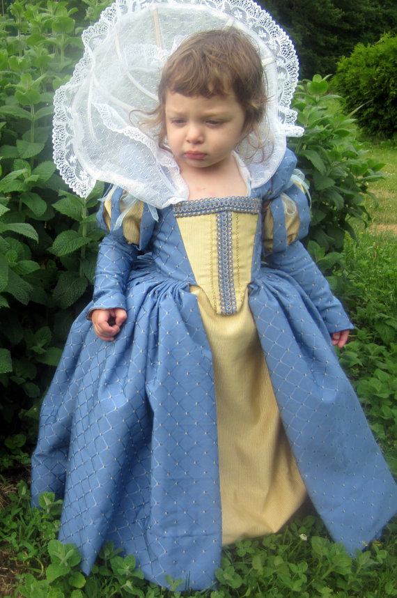 blue and yellow renaissance child dress http://www.etsy.com/people/nellicarave