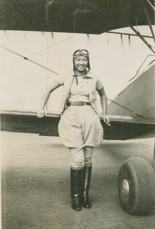 "lostsplendor:  Hazel Lee [1912-1944]  Experienced women pilots, like Lee, were eager to join the WASP, and responded to interview requests by Cochran. Members of the WASP reported to Avenger Field, in wind swept Sweetwater, Texas for an arduous 6-month training program. Lee was accepted into the 4th class, 43 W 4.[2] Hazel Ying Lee was the first Chinese American woman to fly for the United States military. Although flying under military command, the women pilots of the WASP were classified as civilians. They were paid through the civil service. No military benefits were offered. Even if killed in the line of duty, no military funerals were allowed. The WASPs were often assigned the least desirable missions, such as winter trips in open cockpit airplanes. Commanding officers were reluctant to give women any flying deliveries. It took an order from the head of the Air Transport Command to improve the situation. Upon graduation, Lee was assigned to the third Ferrying Group at Romulus, Michigan. Their assignment was critical to the war effort; Deliver aircraft, pouring out of converted automobile factories, to points of embarkation, where they would then be shipped to the European and Pacific War fronts. In a letter to her sister, Lee described Romulus as ""a 7-day workweek, with little time off."" When asked to describe Lee's attitude, a fellow member of the WASP summed it up in Lee's own words, ""I'll take and deliver anything."" Described by her fellow pilots as ""calm and fearless,"" Lee had two forced landings. One landing took place in a Kansas wheat field. A farmer, pitchfork in hand, chased her around the plane while shouting to his neighbors that the Japanese had invaded Kansas. Alternately running and ducking under her wing, Lee finally stood her ground. She told the farmer who she was and demanded that he put the pitchfork down. He complied. Lee was a favorite with just about all of her fellow pilots. She had a great sense of humor and a marvelous sense of mischief. Lee used her lipstick to inscribe Chinese characters on the tail of her plane and the planes of her fellow pilots. One lucky fellow who happened to be a bit on the chubby side, had his plane dubbed (unknown to him) ""Fat Ass."" Lee was in demand when a mission was RON (Remaining Overnight) In a big city or in a small country town, she could always find a Chinese restaurant, supervise the menu, and often cook the food herself. She was a great cook. Fellow WASP pilot Sylvia Dahmes Clayton observed that ""Hazel provided me with an opportunity to learn about a different culture at a time when I did not know anything else. She expanded my world and my outlook on life."" Lee and the others were the first women to pilot fighter aircraft for the United States military. Image (via World War II Database) Text [click for full article] (via Wikipedia)"