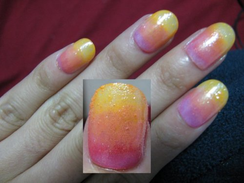 Summer (W/ Fake Nails) Materials: - Red/Peach/Yellow Base Coat - Glitter Coat (Optional) - Foundation Sponge & Paper How To: It doesn't have to be these colors, it could be any of 2, 3 or more colors you want(just don't pack it up). Apply the darkest on the bottom and work your way up to the tip ending with the lightest. Using a paper, pour a small amount of lacquer and using one end of the sponge, absorb just a bit of lacquer and dab it on the nail, you don't want the whole nail to be covered with that one color because you want a transition. Repeat the dabbing process until you have the desired tone of color. Use another end of the sponge for other colors and continue dabbing with them, slowly merging it from the previous color. Finish off with a glitter coat and then a top coat. Good luck and Have fun <3