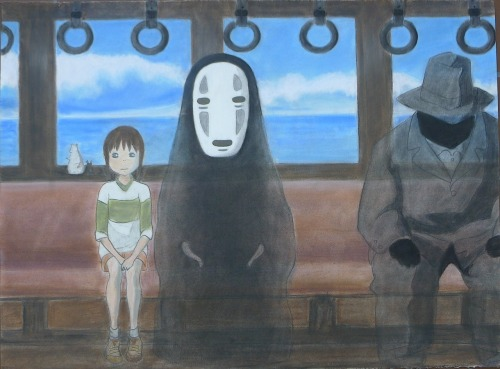 So I did a drawing of a still from Hayao Miyazaki's Spirited Away for Advanced Drawing class this semester… here's the final product but I plan on uploading work in progress photos too so you can see exactly how big the paper is… If I had to guess without having it near me, I'd say it was maybe three feet by two feet? maybe a little less? I'm quite bad at estimations so please forgive me ~