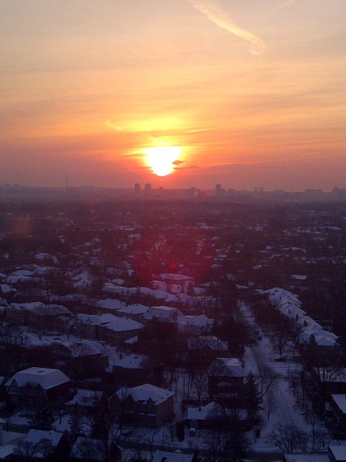 Sunset of a beautiful snowy day