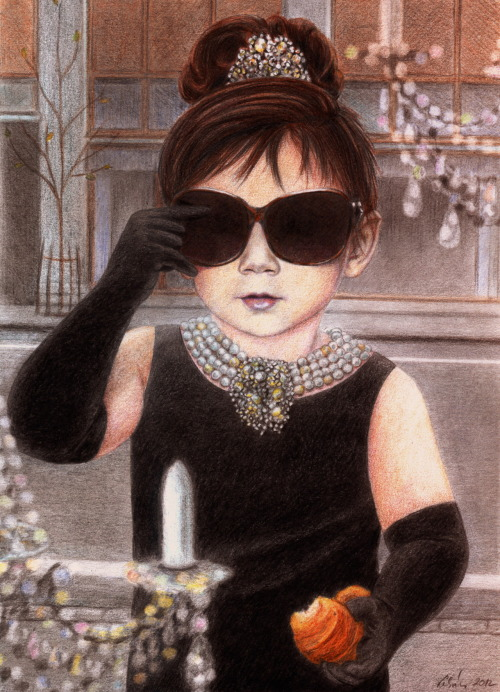 Today's darling Breakfast at Tiffany's Adora was drawn in pencils & watercolors by Hungarian fine artist Eszter Lukács. This was based on this and that photo & was done after a request on the Adora Art Wish List. Nagyon köszönöm, Eszter! - - - - - - - - - - - - - - - - When you click on the 'Adora Art' tag, you will be able to see the complete progress of this project since the first portraits of Adora were made