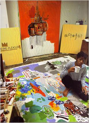 tacobella:  Basquiat in Great Jones Street Studio, New York, 1987