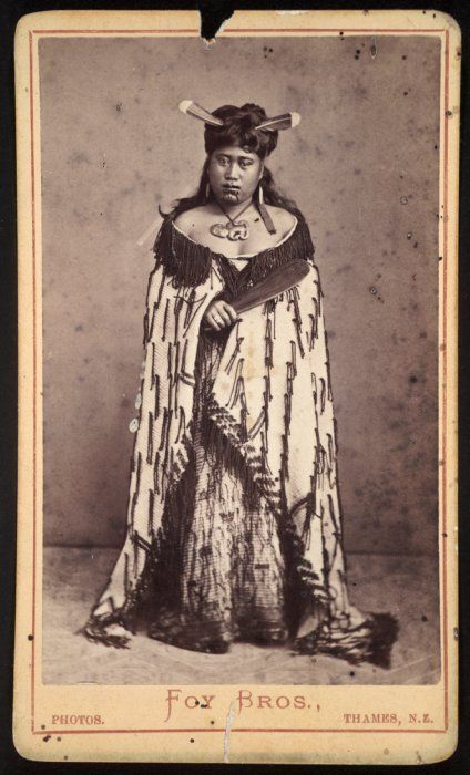 Foy Brothers (Thames): Maori woman with huia feathers in her hair,  1872-1886 National Library of New Zealand