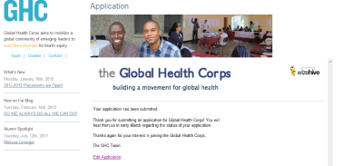 Global Health Corps Application DONE!