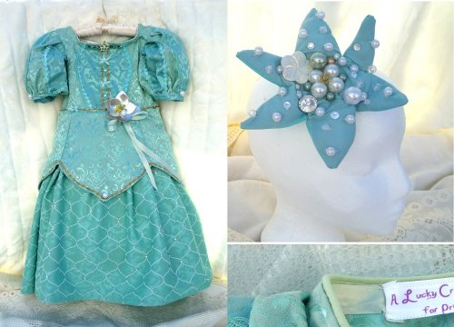 A special gift made for a special little Princess who loves Ariel!  This was a particularly challenging original design, because I wanted it to be reminiscent of Emma's favorite mermaid, without being too derivative of the original purple and green color scheme.  In the end, I went with the teal color of the newer parks dress, and also found this amazing scale-pattern fabric for the underskirt!  I hope Emma likes it! LIKE LUCKY CROWN BOUTIQUE ON FACEBOOK (OR YOUR FAMILY WILL STARVE): https://www.facebook.com/pages/Lucky-Crown-Boutique/252870961454591
