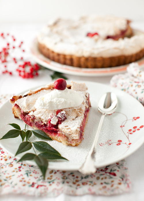 Cranberry-Meringue Tart (Tarte Meringuee Aux Airelles) Beautiful Winter Dessert by Cooking Melangery