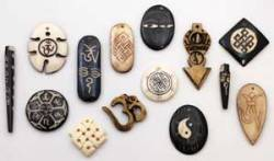 Good Chi Flowing Carved Pendants Carved of bone to depict various Sanskrit characters and symbols of # harmony, #peace and #enlightenment, these charms are a wonderful aid in  helping to keep your flow of chi moving in a positive direction. Coming  in various shapes and sizes, each is unique and chosen at random. Get them Here