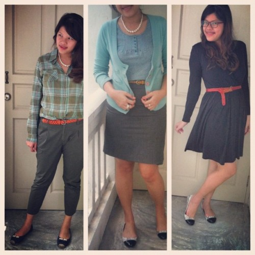 #ootd times three. I've been wearing a lot of green this week! #outfits  (Taken with instagram)