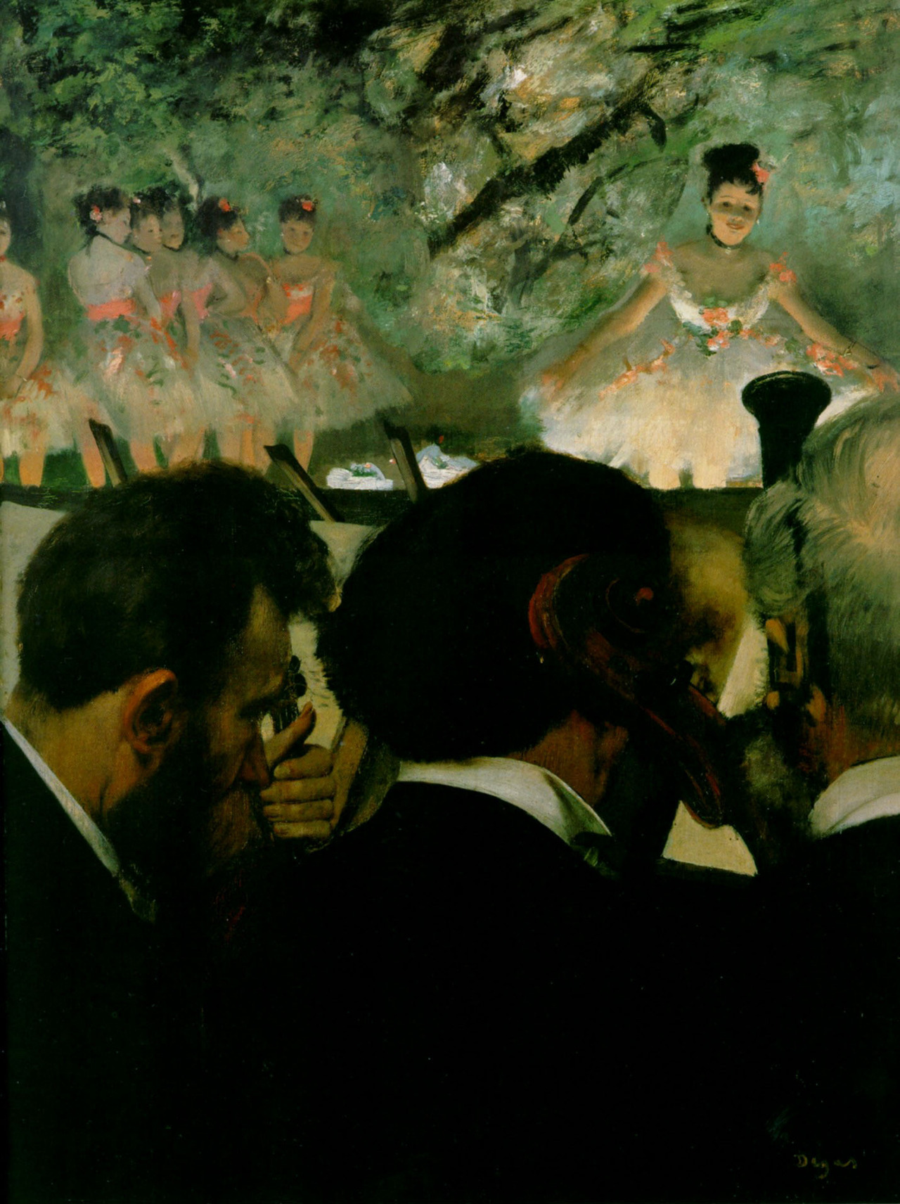 deadpaint:  Edgar Degas, Musicians in the Orchestra