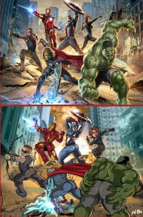 super great:  What if the male Avengers posed like the female ones? kevinbolk.deviantart.com  画