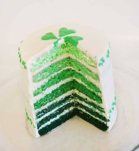 "truebluemeandyou:  DIY St. Patrick's Day Ombre Cake. St. Patrick's Day is March 17th and I live near a city that holds one of the largest St. Patrick's Day Parade with a selected ""Colleen"", so that day is actually very big here. Tutorial from I am Baker here. *No recipe but you can a recipe for cake anywhere."