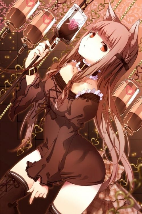 twinmaikosyu:  1girl blood blood bag chocolate choker dutch angle frills heart jpeg artifacts kemonomimi leaning forward rotated tagme thighhighs yuuki kira | Sankaku Channel