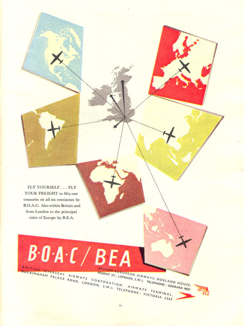 thingsmagazine:  B.O.A.C advert, from the official Festival of Britain programme, 1951  [this is good]