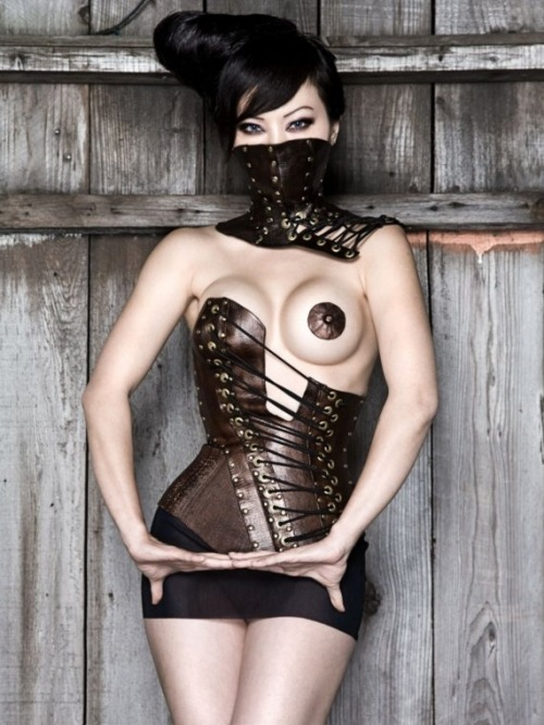 Handmade leather corset and posture collar by Antiseptic Fashion, Etsy.