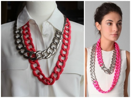 DIY Neon Chain Necklace. Photo LEFT: DIY, Photo RIGHT: $144 Adia Kabur Necklace here. Ever since I posted on huge chain link jewelry and fashion here, I've been looking for light weight chain. Tutorial and the answer I've been looking for at The Glitter Guide here.
