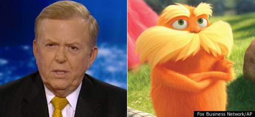 "imwithkanye:  Fox v. The Lorax. In an effort to demonstrate how it's the biggest kid on the playground, the news network took on yet another children's movie. Lou Dobbs went on the offensive saying that The Lorax ""is once again trying to indoctrinate our children"" and that it is ""demonizing the 1% and espousing green energy policies."" Matt Patrick even chimed in, saying that the movie ""is creating Occu-toddlers."" Boom. Occupy the sandbox! Yet no one at is concerned about the sexual imagery of Zac Efron, the idol of a thousand little Occu-tweens, dropping a condom on the red carpet. Where's the outrage there? He was practically promoting safe sex! I'm disappointed Megyn Kelly hasn't rallied the ""Parents Outraged At Everything"" group and called for Lorax's head.  Lou Dobbs: Proving that he didn't deserve to be on CNN in the first place."