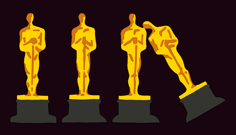 Sunday night's Oscars faces the real possibility of ratings humiliation. Live voting and a hindsight award could save them. (Illustration by Tim Lahan | Column by Virgina Postrel on Bloomberg View)