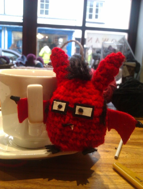fauxholmes:  Did an amigurumi workshop today and here is the result. CONBAT!  Too. Goddamn. Cute.
