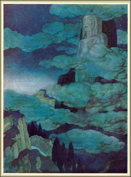 nocnitsa:  Edmund Dulac- Dreamland Date: 1912Technique: Watercolour treated with a variety of methods - including overstreaking with gilt or crayon - to produce the rich haunting effects that are clear throughout.From The Bells and Other Poems by E. A. Poe, published by Hodder & Stoughton (London)