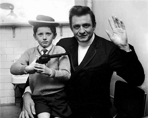 ckck:  Johnny Cash and a young cowboy. Newcastle, England, circa 1968. Photograph by Ian Wright.