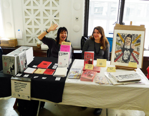 Me and Gabby Gamboa by marinaomi on Flickr.Our Los Angeles Zinefest table, 2/19/12.