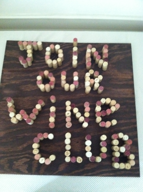 A wine cork board that I created for the Grace Wine Club. A great idea is to create wedding directional signs to lead your guests to your ceremony area using the same technique to spell out Wedding.