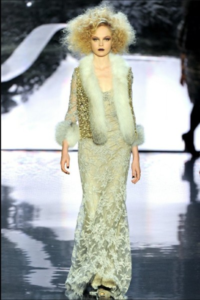 Lace, fur and a lot of wild curls. Badgley Mischka Fall 2012