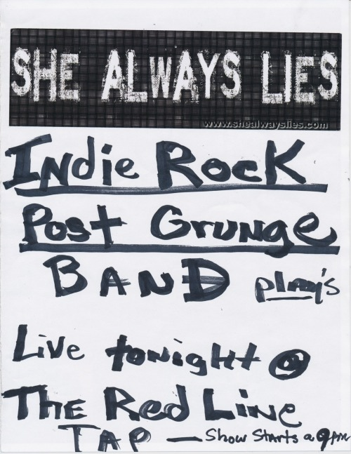Public Collectors goes to college! A flyer for the indie rock post grunge band She Always Lies, plucked from a local Chicago university bulletin board.