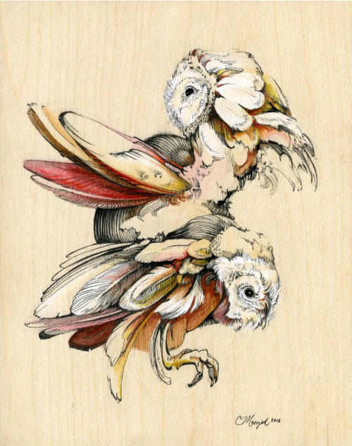 Christina Makes | on Tumblr - Owls. Watercolor, acrylic, and ink on birch wood panel, 8x10 in. Cabin-Time Show!Contact artist for purchase