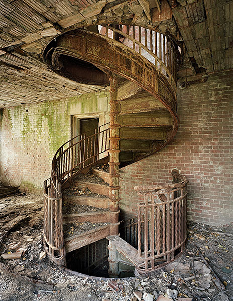 bestabandoned:  Stairs in abandoned Nurse's Home, abandoned island. North Brother Island, NY.Photo by Chris Payne